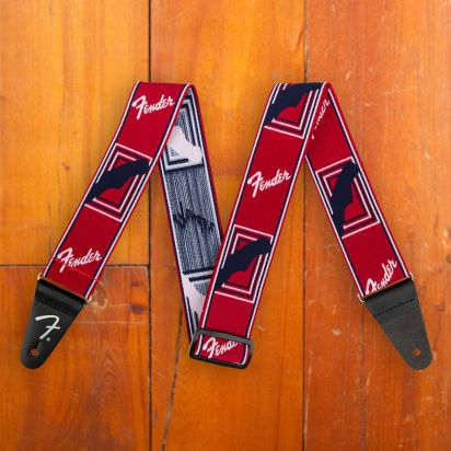 """Fender Weighless 2"""" Mono Strap Rd/Wh/Bu"""