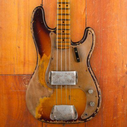 Fender CS 1958 P-Bass, Faded Chocolate over 3-Colour Sunburst, Masterbuilt Vincent van Trigt, Heavy Relic