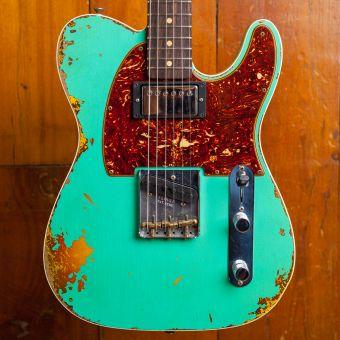 Fender CS LTD 1960 HS Telecaster Custom, Rosewood Fingerboard Heavy Relic Aged Foam Green / 3 Color Sunburst