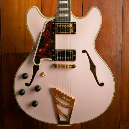 D'Angelico Deluxe DC, Lefty, Matte Pink