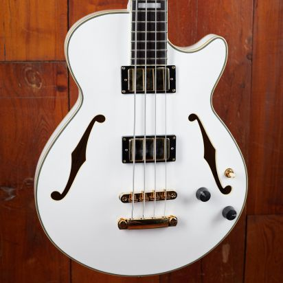 D'Angelico Semi-Hollow Bass White