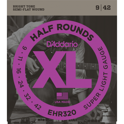 D'Addario EHR320, Half Round Wound, Super Light 09-42