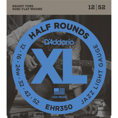 D'Addario EHR350, Half Round Wound, Light 12-52