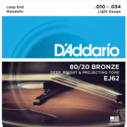 D'Addario EJ62, 80/20 Bronze Mandolin Strings, Light, 10-34