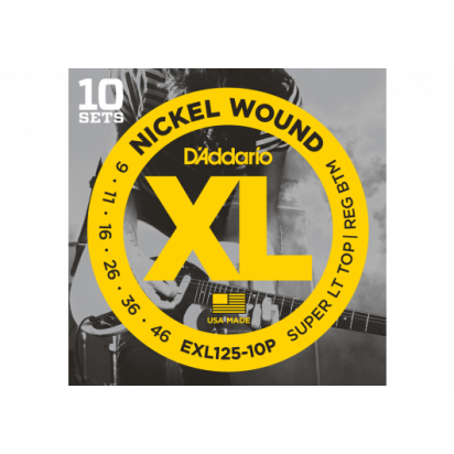 D'Addario EXL125-10 Super Light/Regular Bottom 09-46 10-Pack