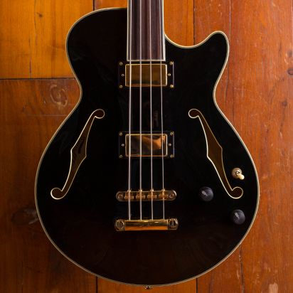 D'Angelico Excel Hollow Body Bass, Black FL
