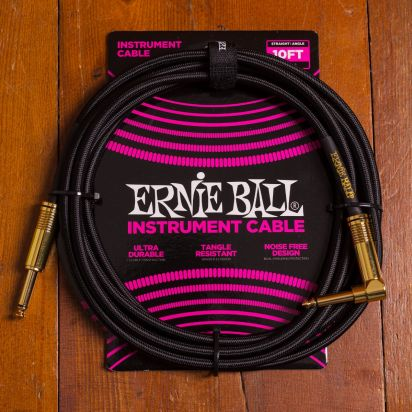 Ernie Ball Braided Cable 3m Black Angled - Straight