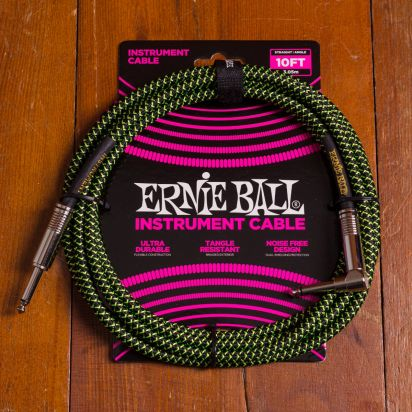 Ernie Ball Braided Cable 3m Black/Green Angled - Straight