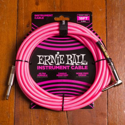 Ernie Ball Braided Cable 5,5m Pink Angled - Straight