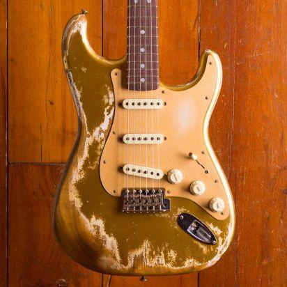 Fender CS NAMM LTD Big Head Stratocaster Super Heavy Relic Aged Aztec Gold