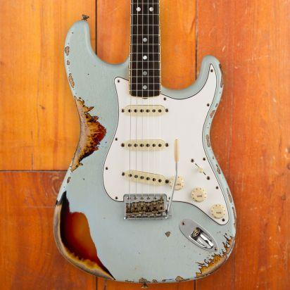 Fender CS LTD 1967 Stratocaster, Aged Sonic Blue over 3-Color Sunburst