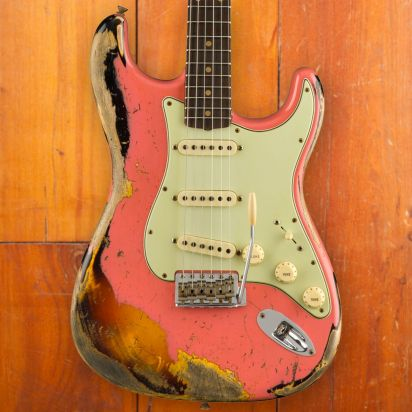 Fender CS LTD 60/63 Stratocaster, Super Heavy Relic, Super Faded Aged Fiesta Red Over 3-Color Sunburst