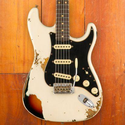 Fender CS LTD Dual-Mag II Stratocaster, Aged Olympic White Over 3-Color Sunburst