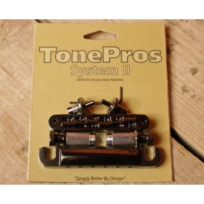Tone Pro's Lpbs02-Blk Us Bridge/Tailpiece Set (Sml Posts) Bk