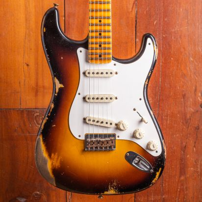 Fender CS LTD Troposphere Strat HT Heavy Relic Maple Neck Super Faded Aged 2-Color Sunburst