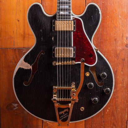Gibson Custom 1959 ES-355 'Keef' Ebony, Bigsby, Heavily Aged, #A90275