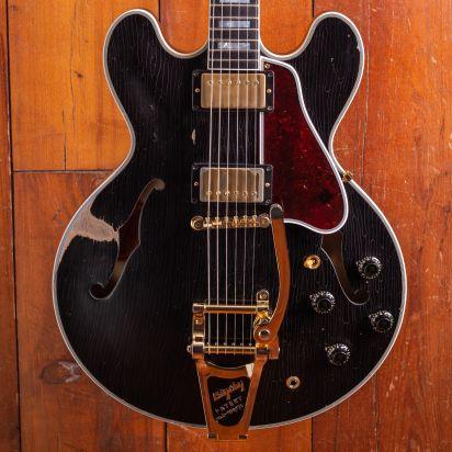 Gibson Custom 1959 ES-355 'Keef' Ebony, Bigsby, Heavily Aged, #A90301
