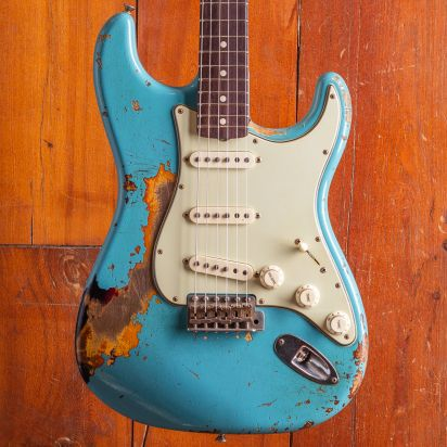 Fender CS 1963 Stratocaster extreme relic Masterbuilt Chris Fleming Taos Blue over Sunburst #CF1084