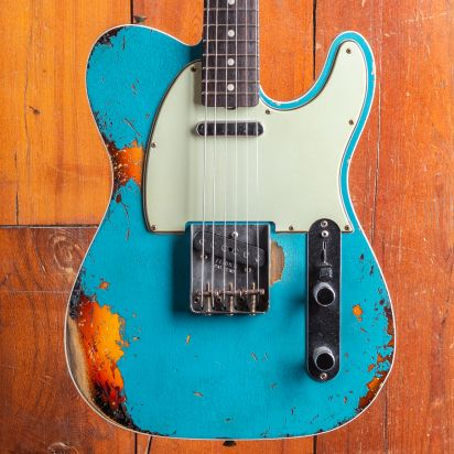 Fender CS 1960 Telecaster extreme relic Masterbuilt Chris Fleming Taos Blue over Sunburst