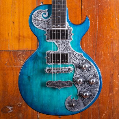 Teye Fox flamed maple top, Aquamarine finish