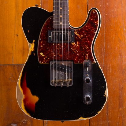 Fender CS LTD 1960 HS Telecaster Custom, Rosewood Fingerboard Heavy Relic Aged Black / 3 Color Sunburst
