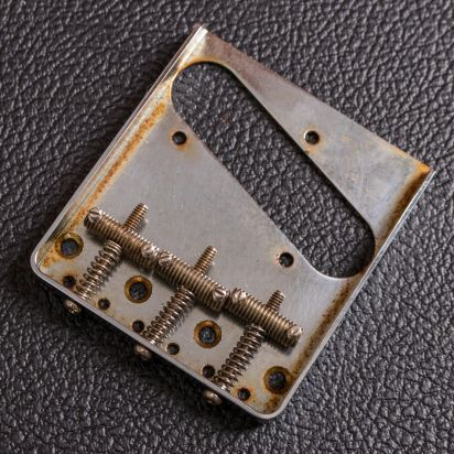 Guitar Slinger Parts Aged Tele Bridge Threated Saddles 60 Style