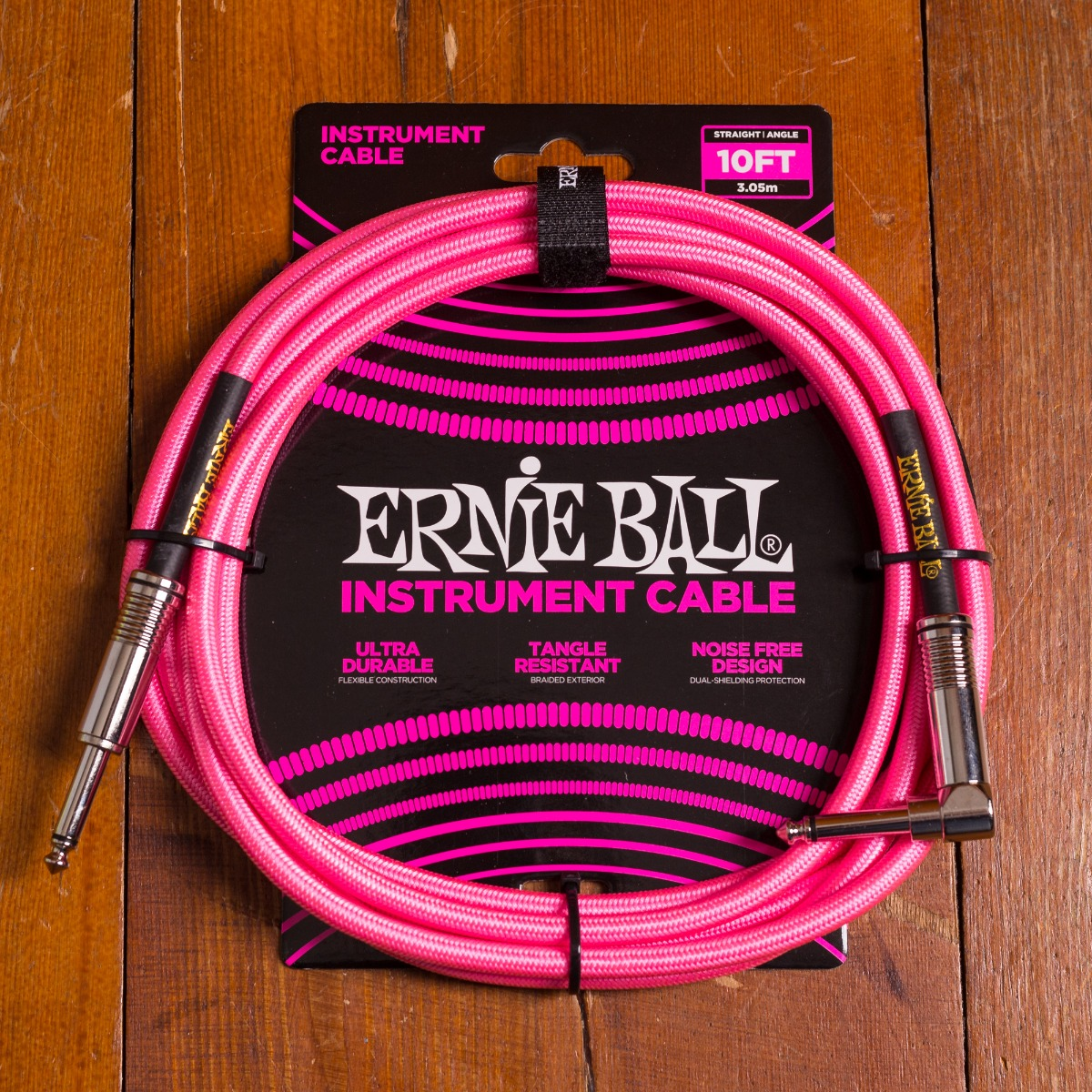 Ernie Ball Braided Cable 3m Pink Angled Straight